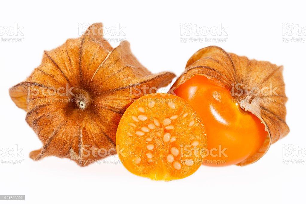Fruits Physalis ( Physalis peruviana) isolated on white background stock photo