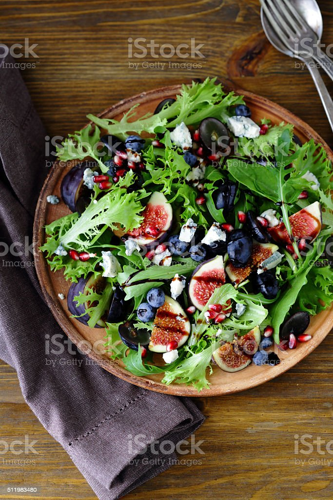 fruits salad with blue cheese stock photo