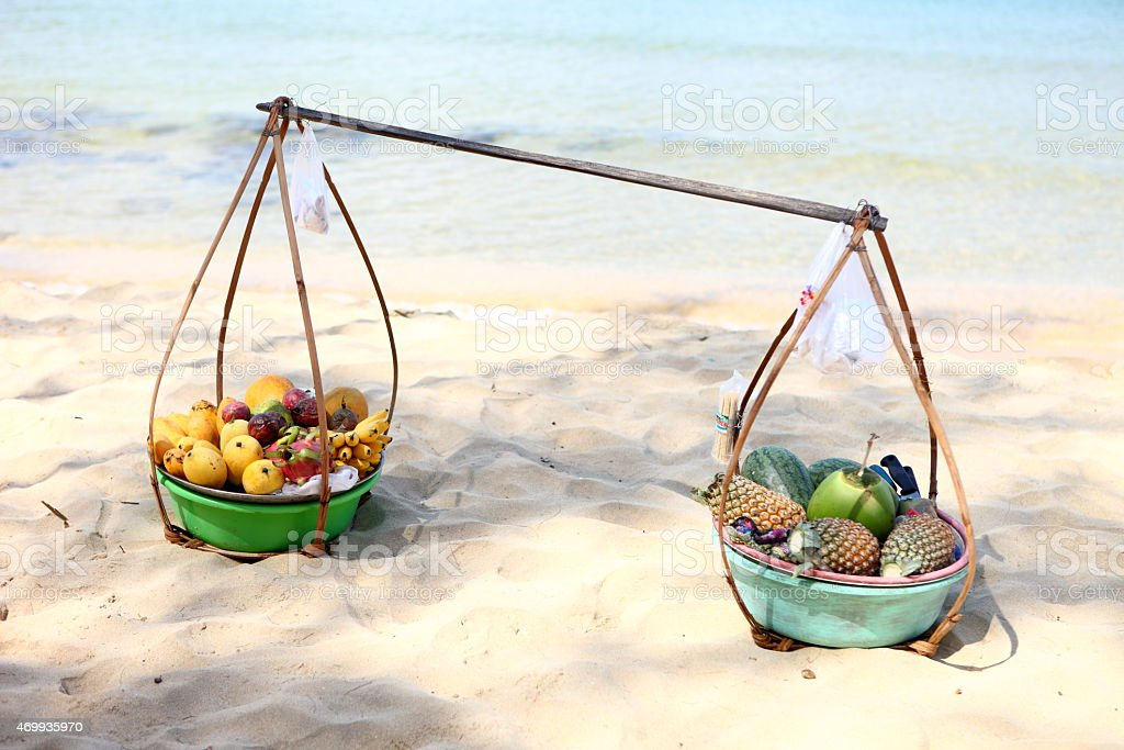 Fruits shop on the beach stock photo