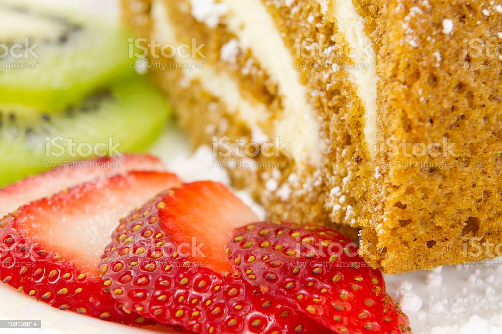 Fruits slices by the Cake stock photo