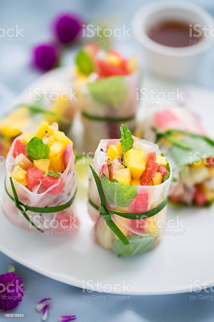Fruits spring rolls stock photo