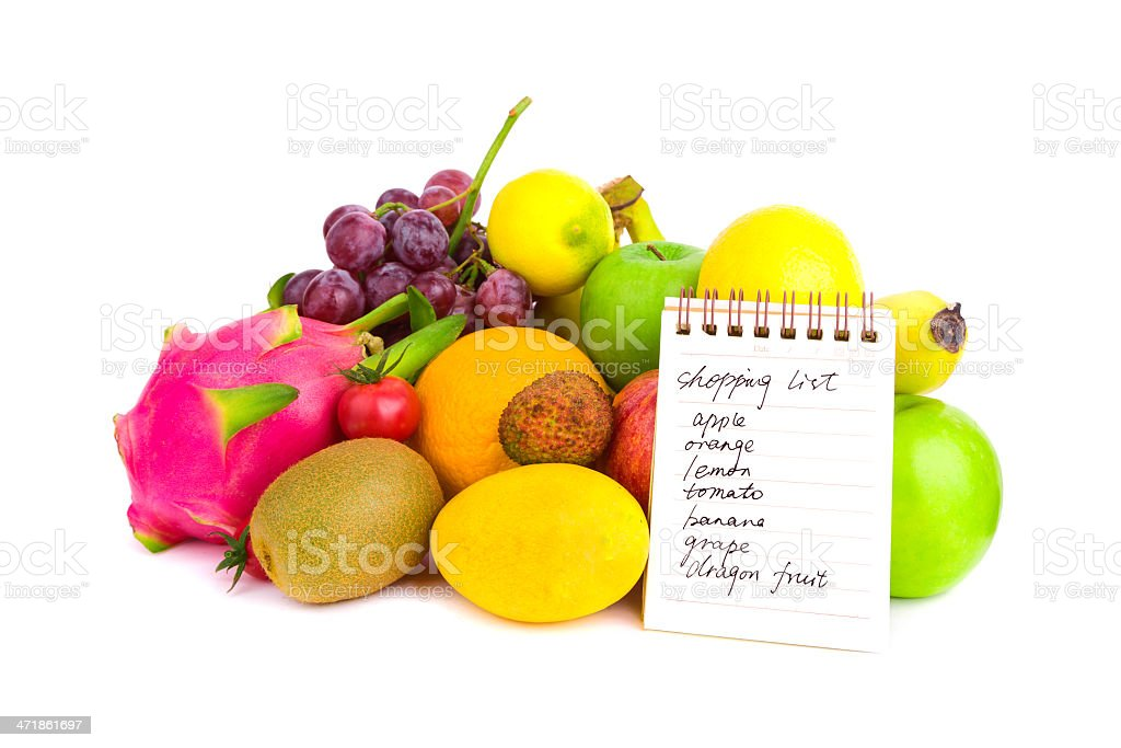fruits variety and shopping list isolated on white background royalty-free stock photo