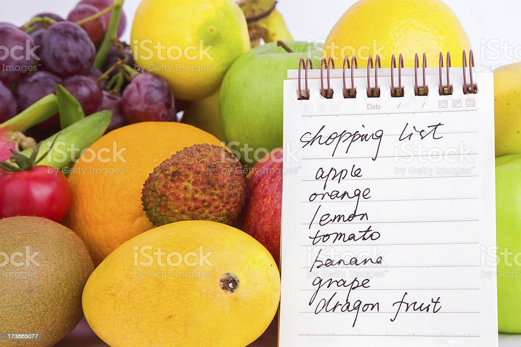 fruits variety and shopping list stock photo
