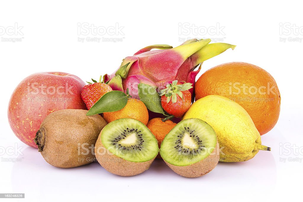 fruits variety isolated on white background royalty-free stock photo