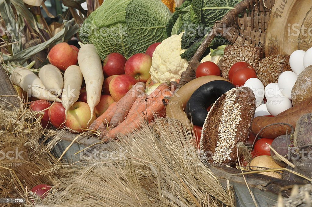 Fruits, vegetables and bread royalty-free stock photo