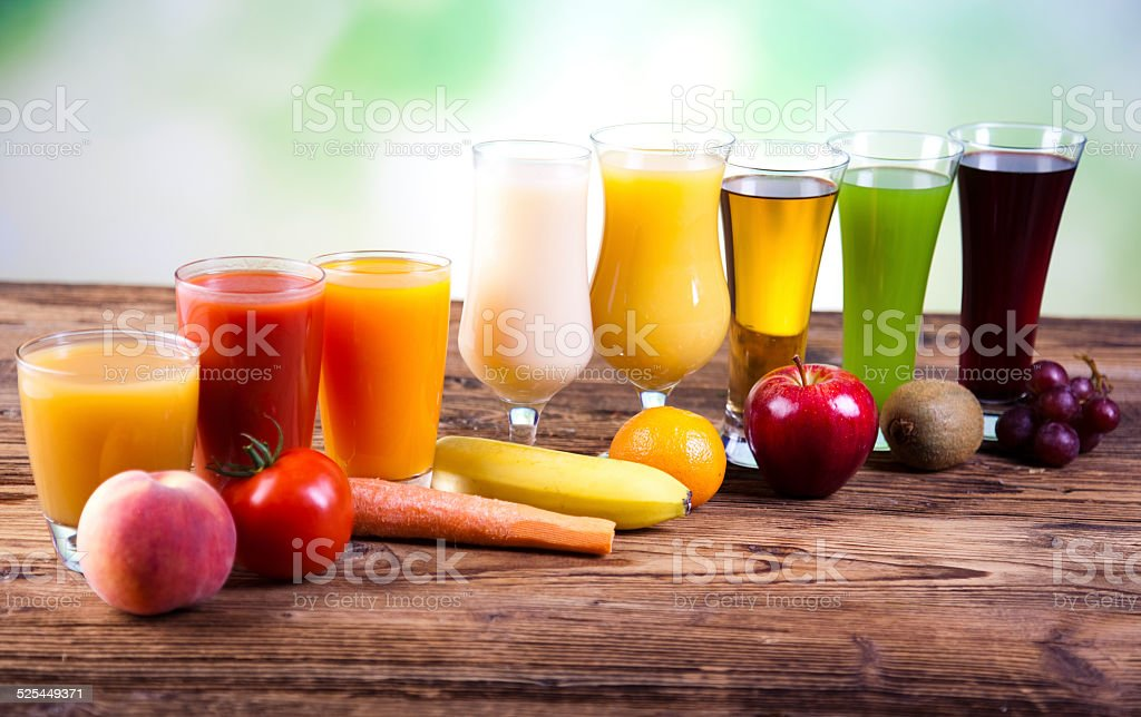 Fruits, vegetables, fruit juices, vegetable juices, healthy food stock photo