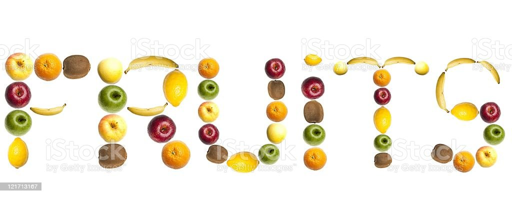 Fruits word made of food stock photo