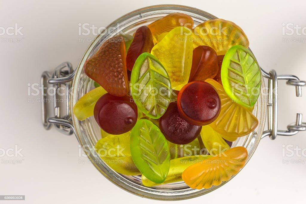 fruity gummy candies stock photo