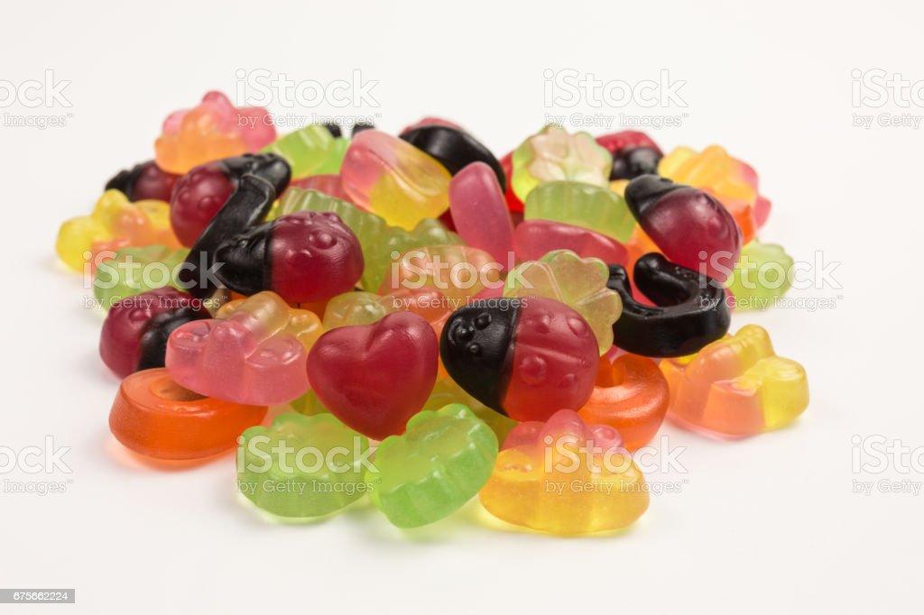 fruity gummy candies symbols stock photo