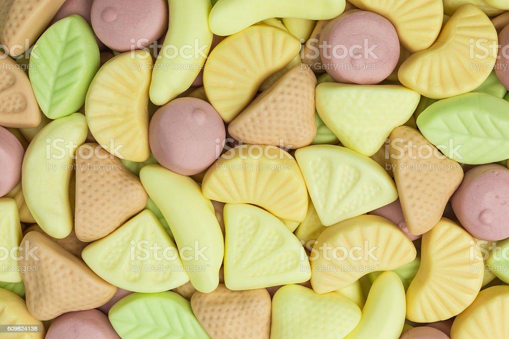 fruity gummy yogurt candies background stock photo