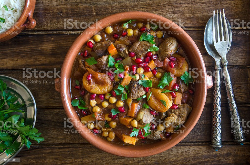 Fruity lamb tagine stock photo