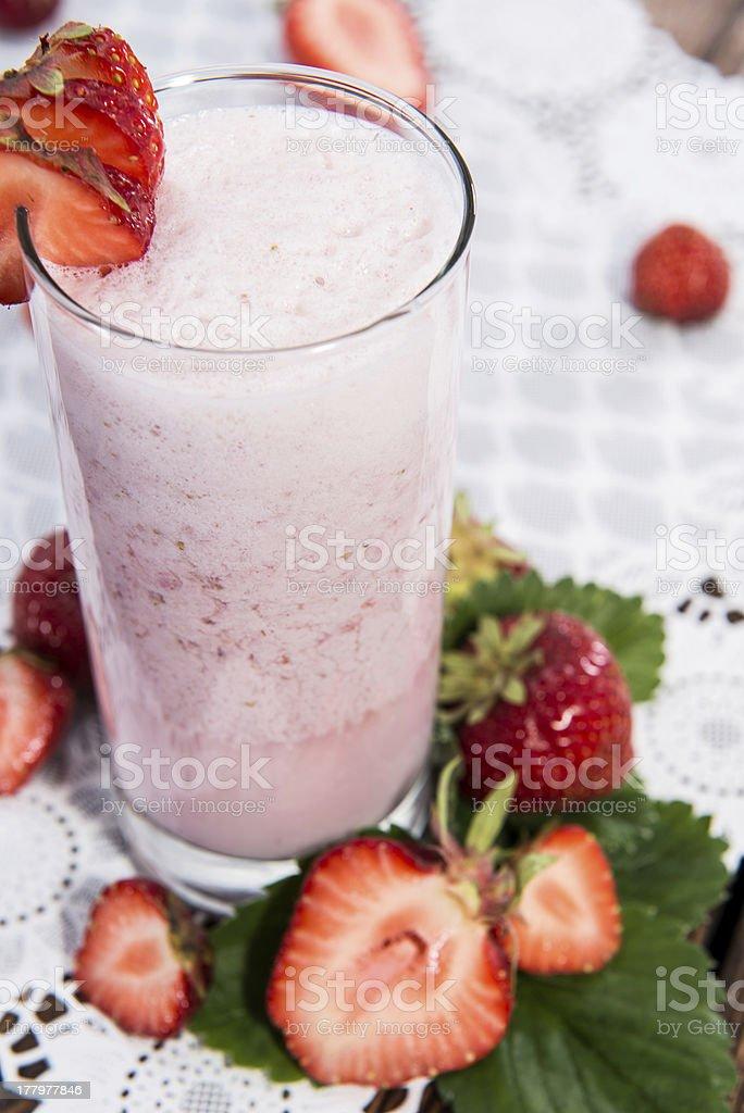 Fruity Strawberry Milkshake royalty-free stock photo