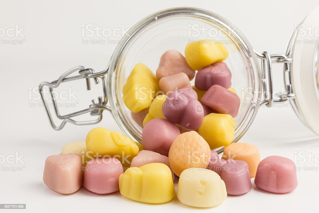 fruity yogurt gummy candies stock photo
