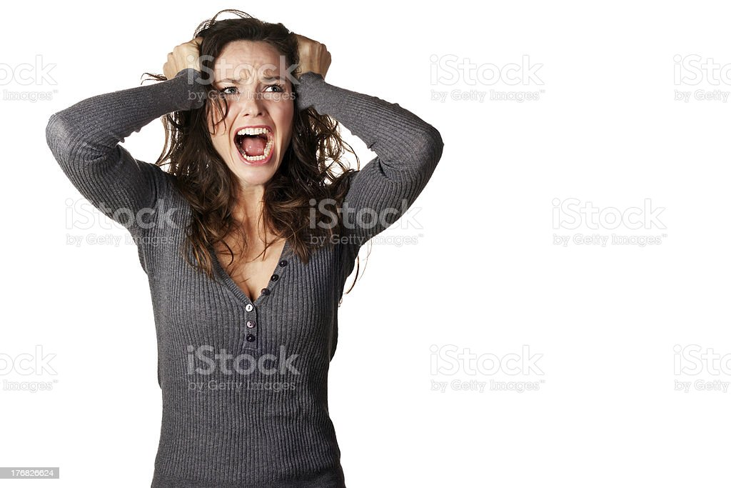 Frustrated and angry woman screaming stock photo