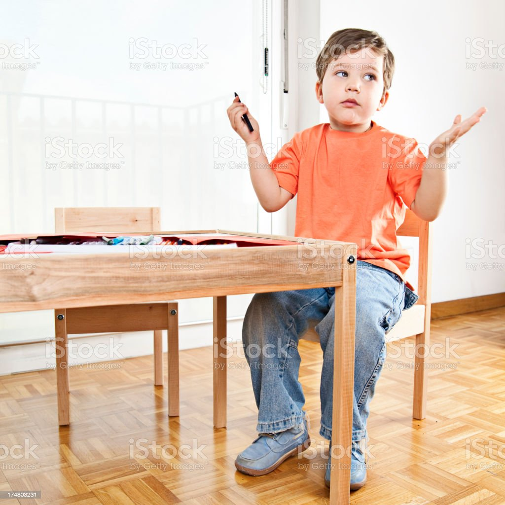 Frustrated boy royalty-free stock photo