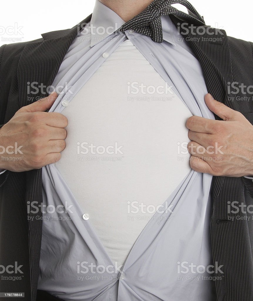 frustrated business man tearing off his shirt royalty-free stock photo