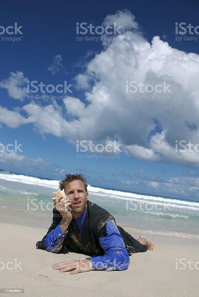 Frustrated Businessman Talks on Shellphone Beach royalty-free stock photo