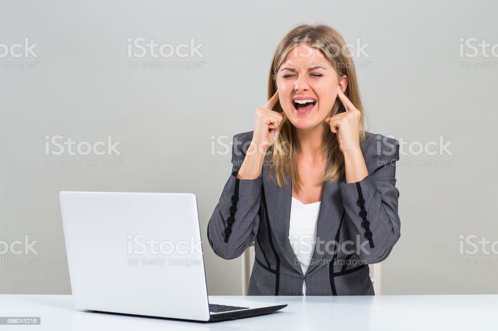 Frustrated businesswoman stock photo