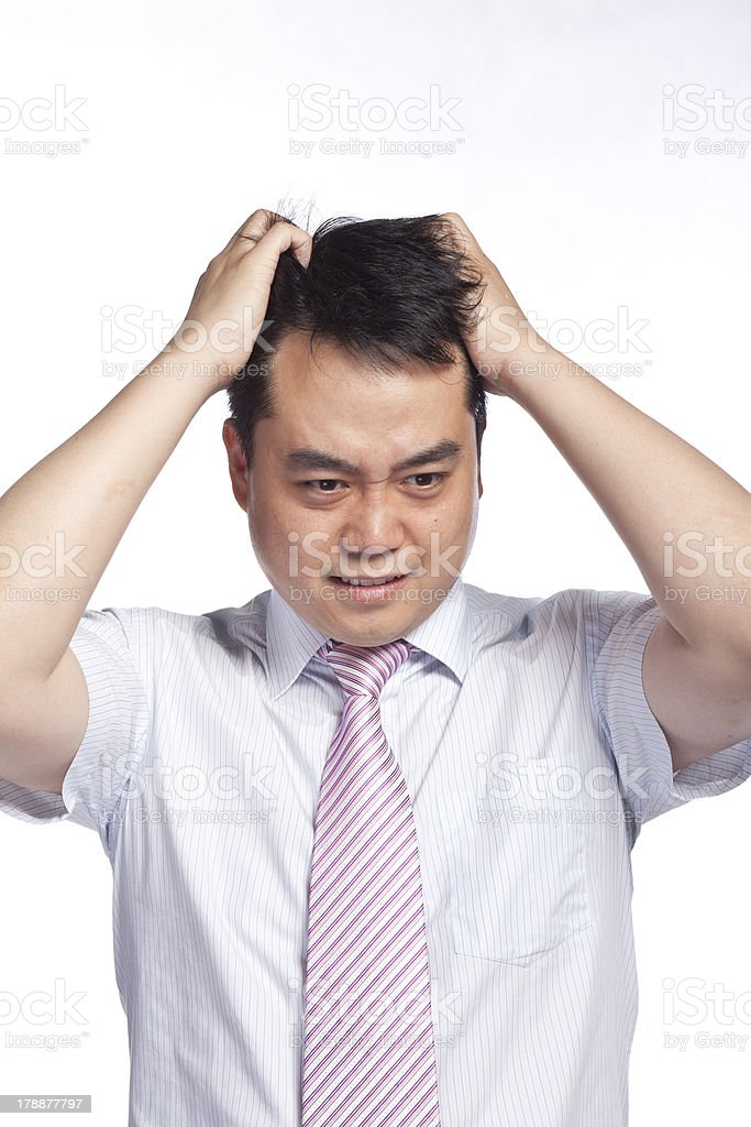 Frustrated Chinese men stock photo