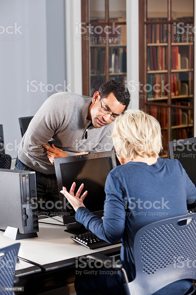 Frustrated computer user in the office stock photo