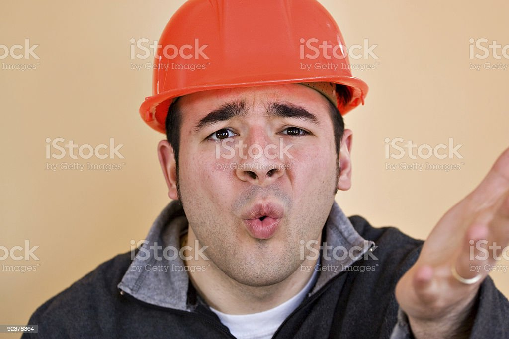 Frustrated Construction Worker royalty-free stock photo