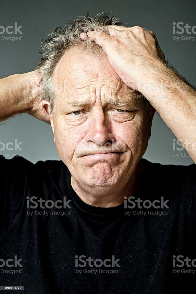 Frustrated Exasperated Senior Male stock photo