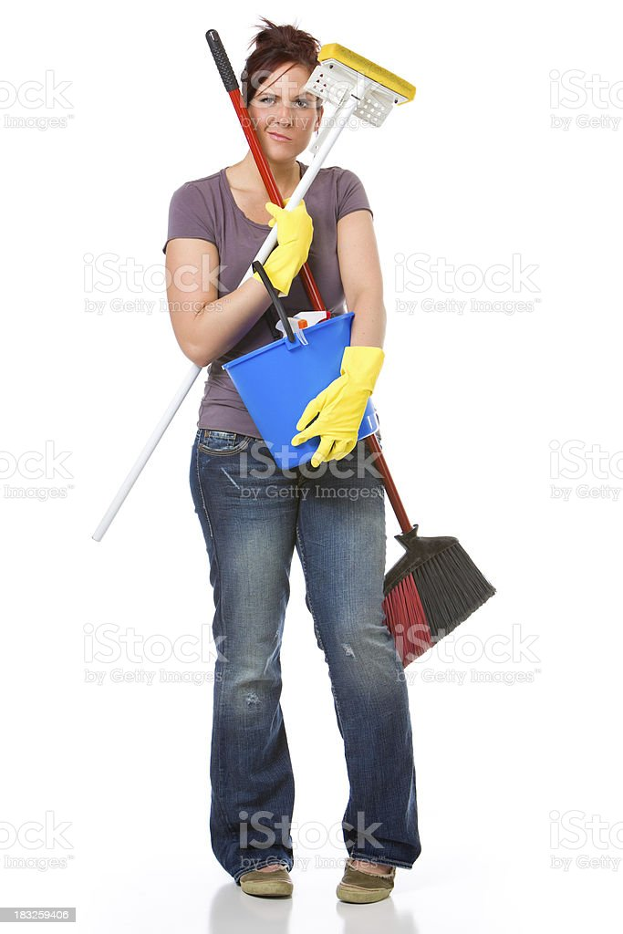 Frustrated House Cleaner royalty-free stock photo