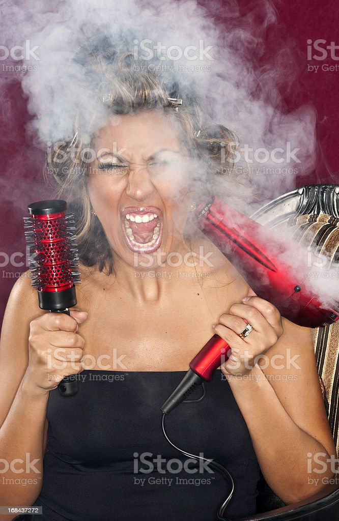 Frustrated housewife stock photo
