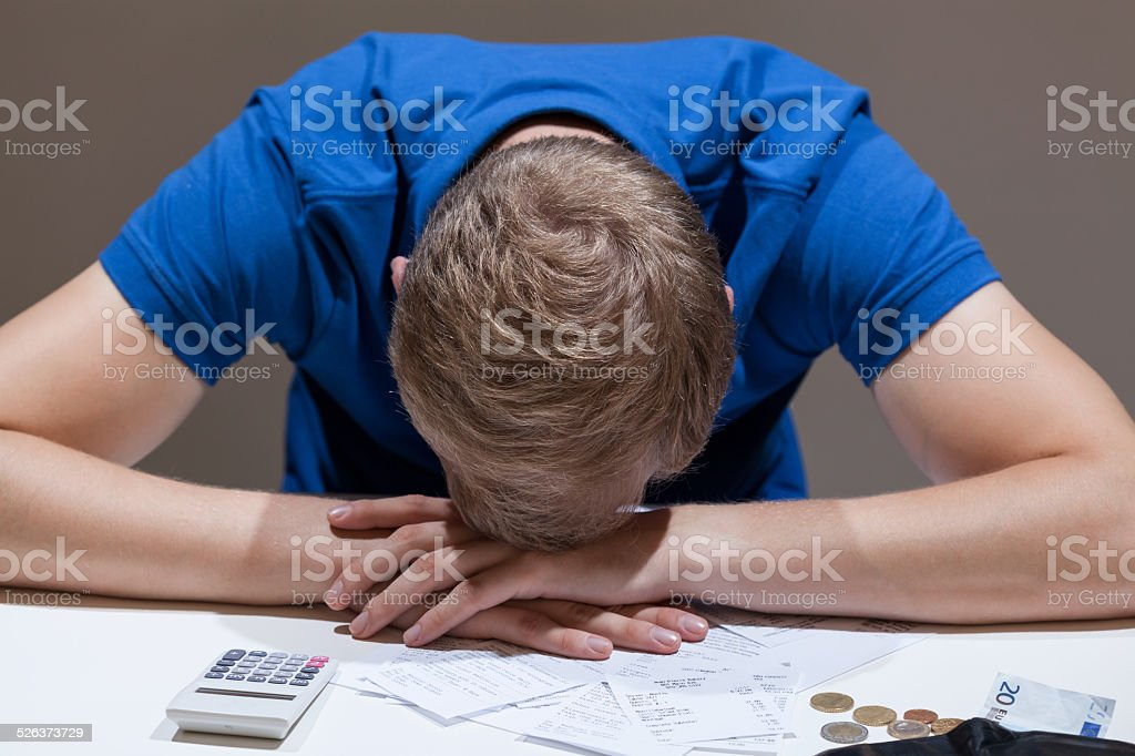 Frustrated man not having money stock photo
