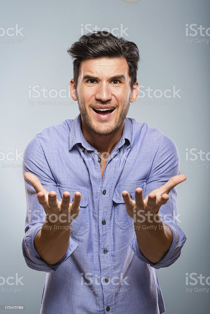 Frustrated man speaking royalty-free stock photo
