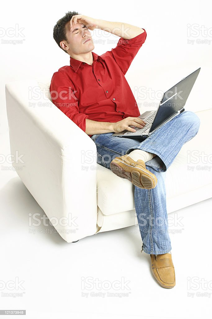 Frustrated  man with laptop royalty-free stock photo