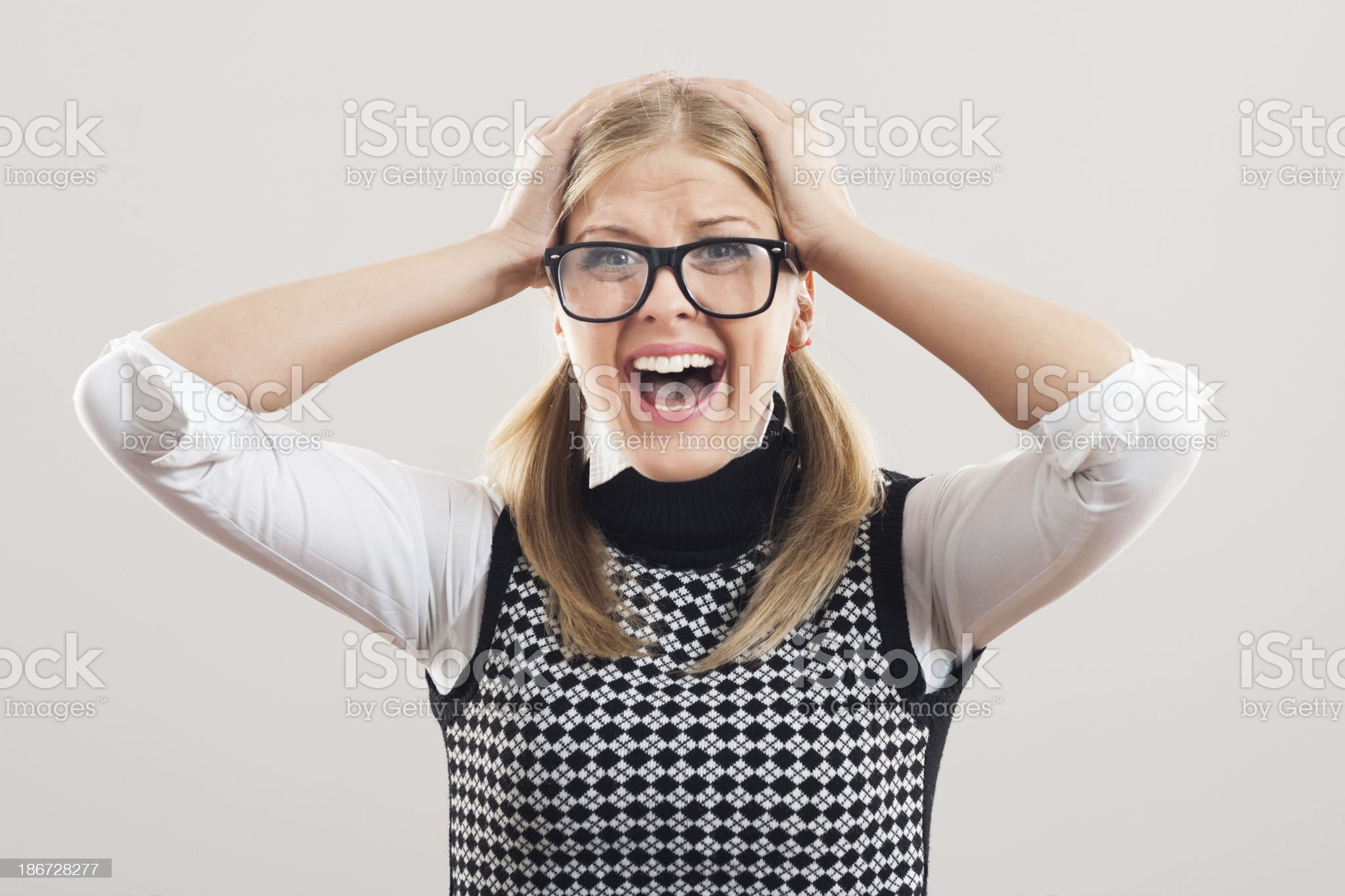 Frustrated nerdy woman royalty-free stock photo