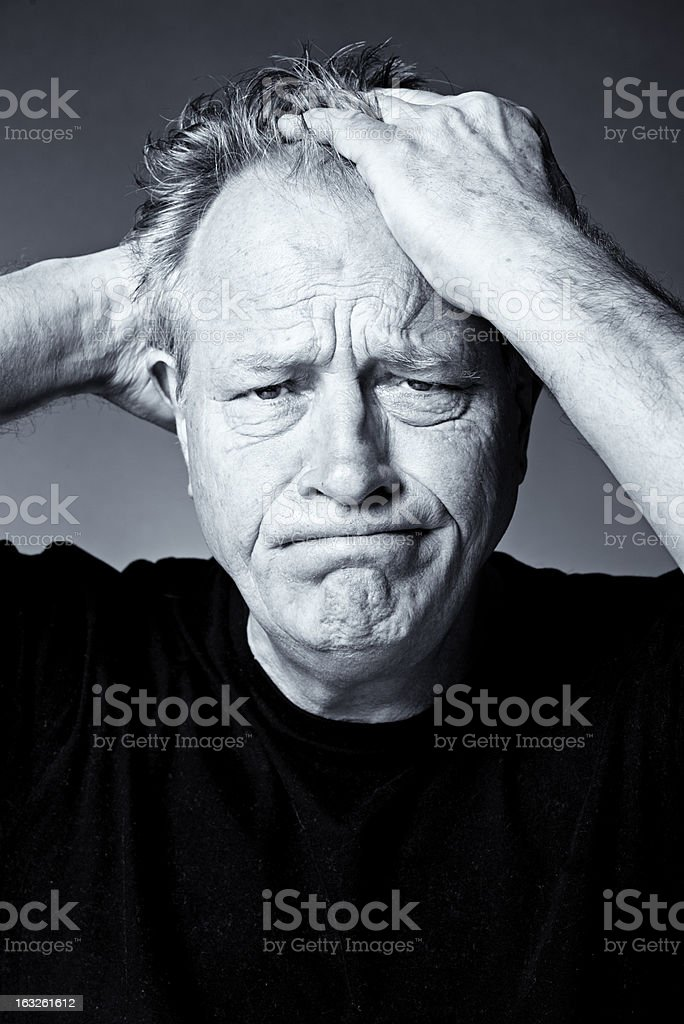 Frustrated Older Man stock photo