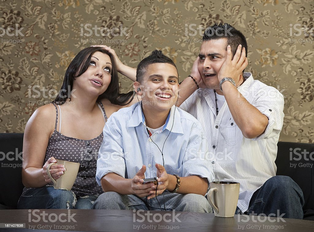 Frustrated Parents with Teen stock photo