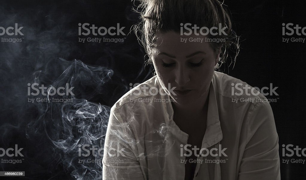 Frustrated smoker stock photo
