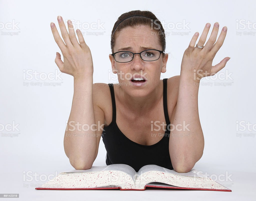 Frustrated studying girl royalty-free stock photo