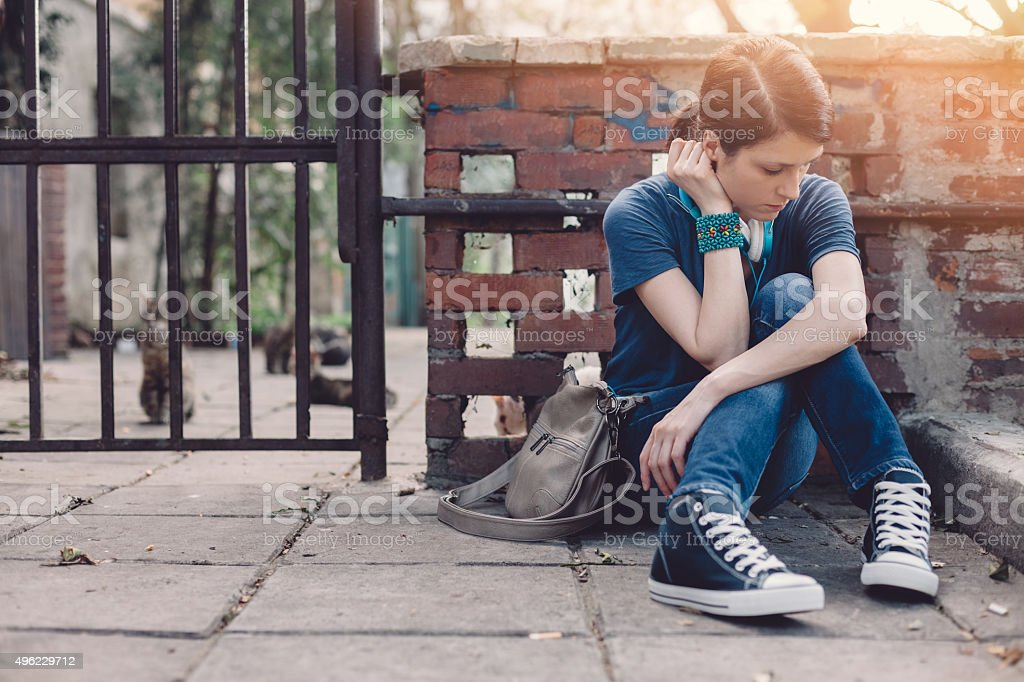 Frustrated teenage girl stock photo