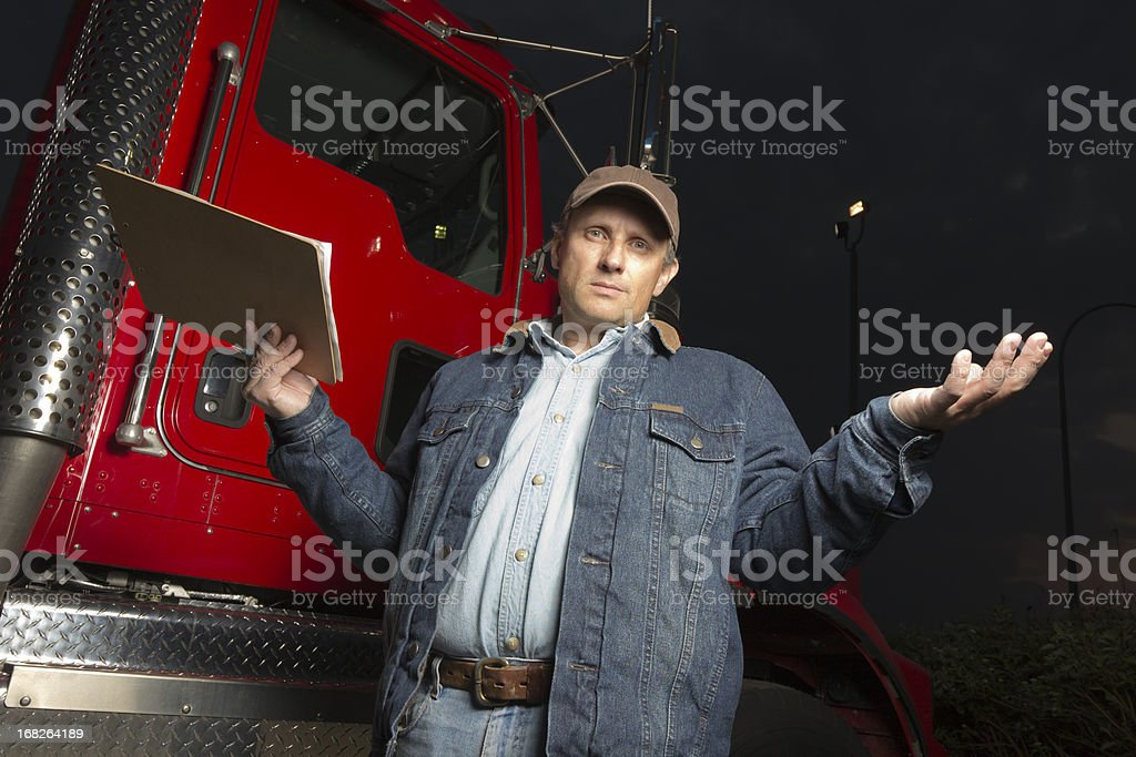 Frustrated Truck Driver royalty-free stock photo