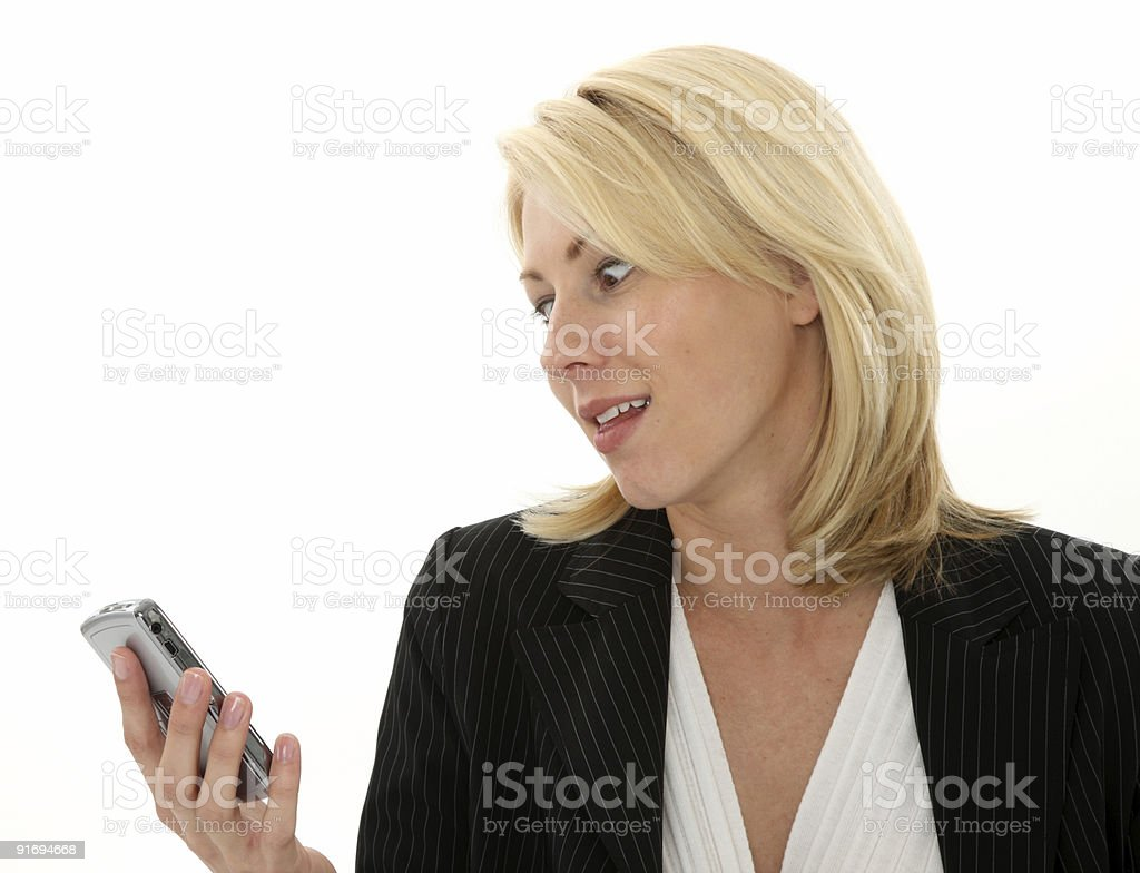 Frustrated with her phone service royalty-free stock photo