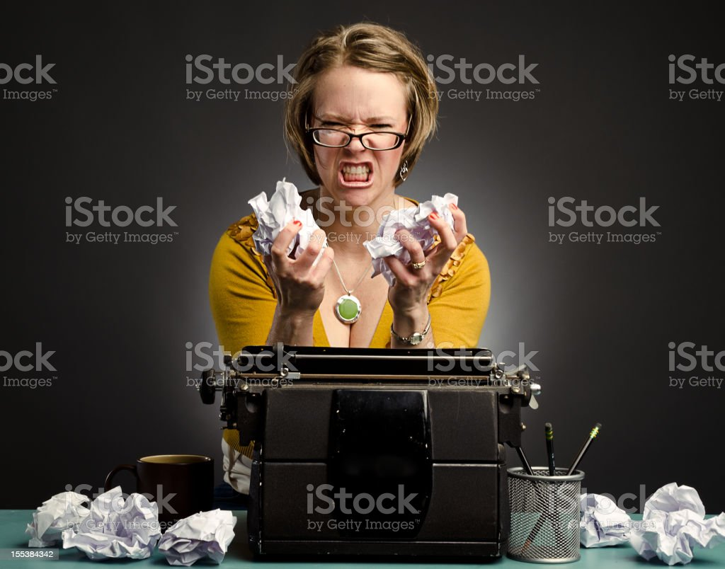 Frustrated writer woman royalty-free stock photo