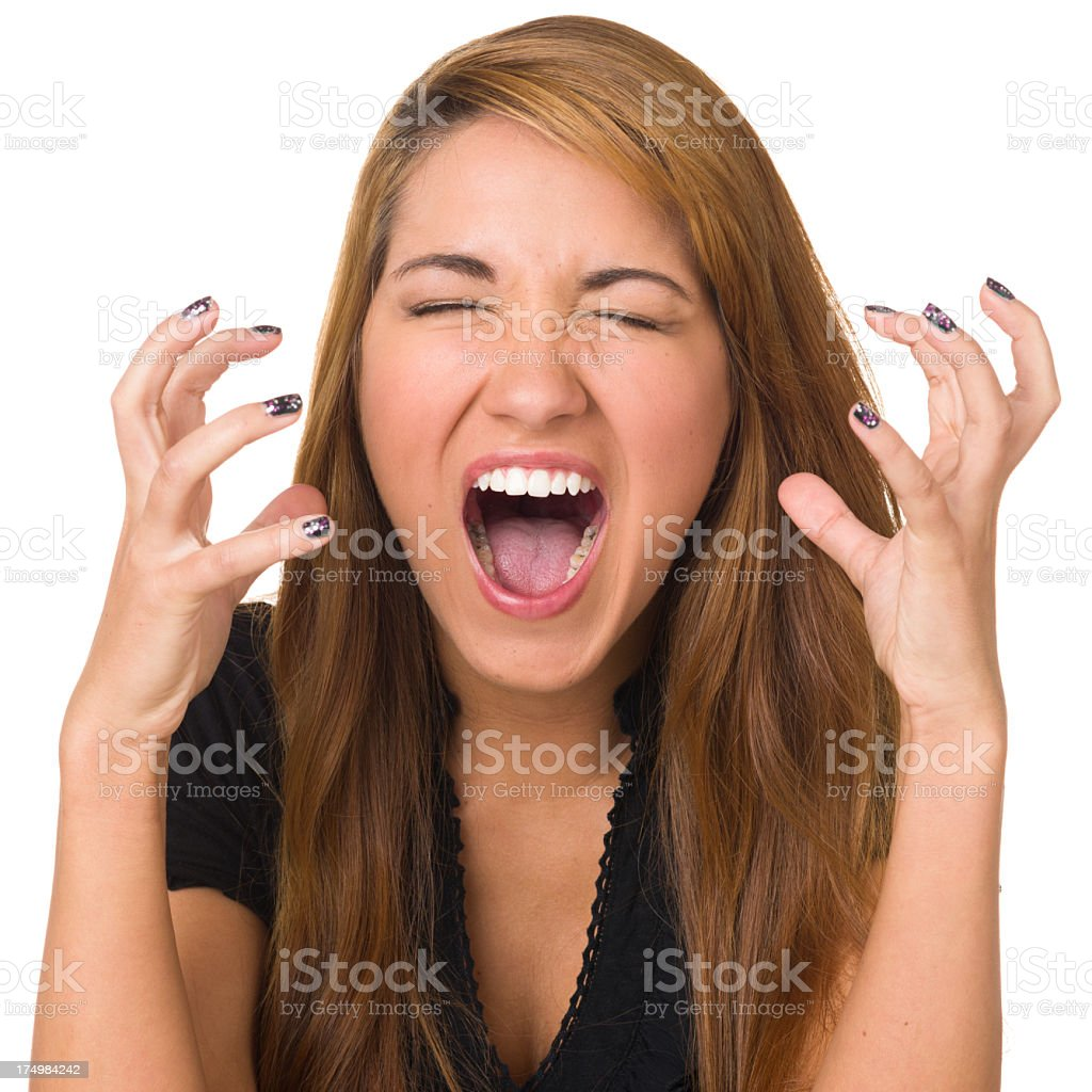 Frustrated Young Woman Shouting royalty-free stock photo