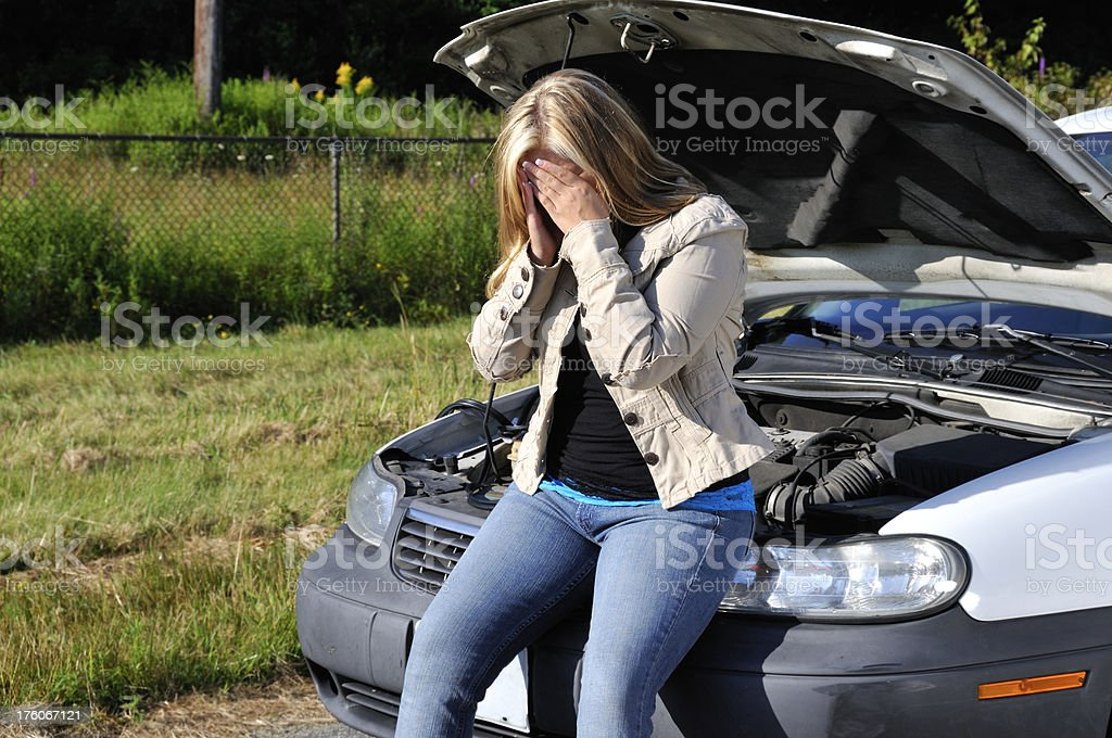 Frustrating Car Trouble, Not Again! royalty-free stock photo