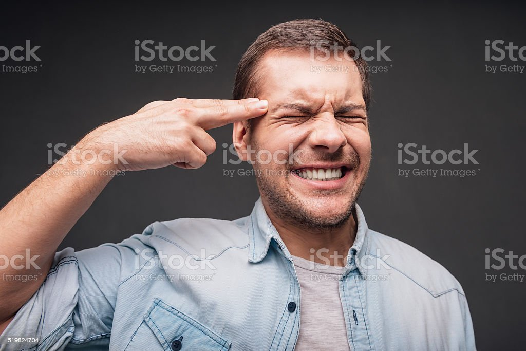 Frustration and despair. stock photo