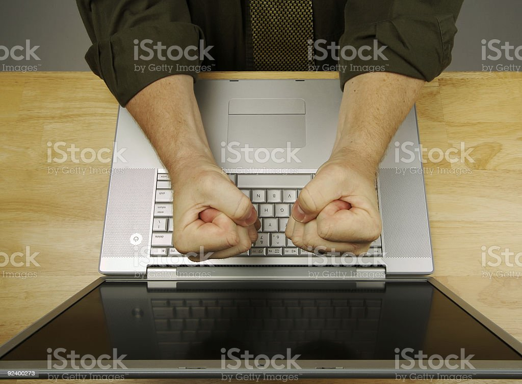 Frustration on the Laptop royalty-free stock photo