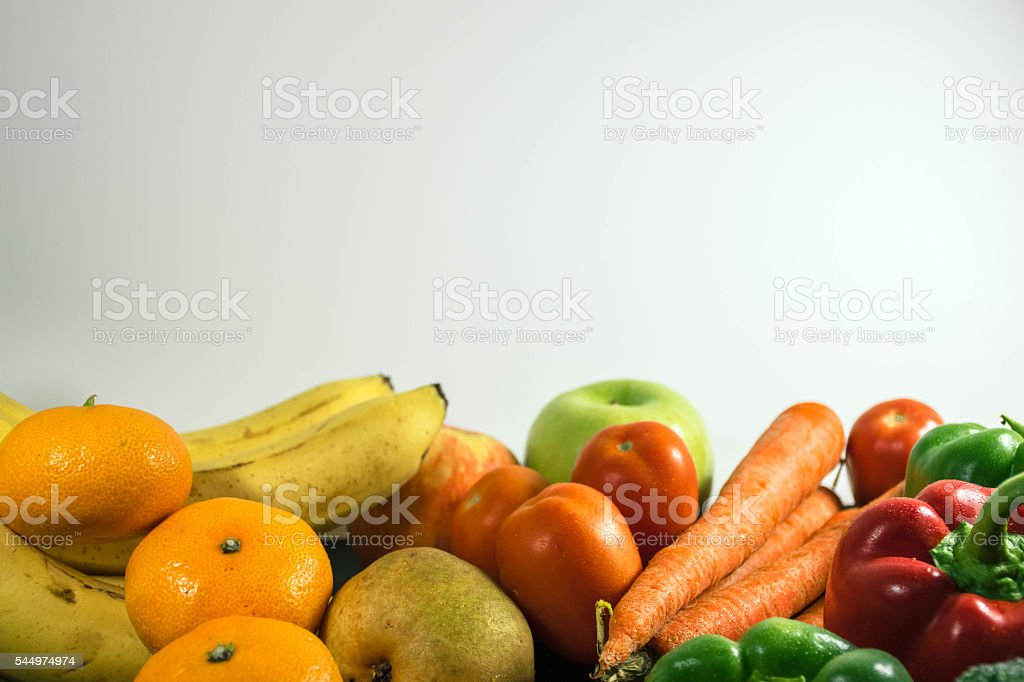 Frutis and Vegetables set on a white background stock photo