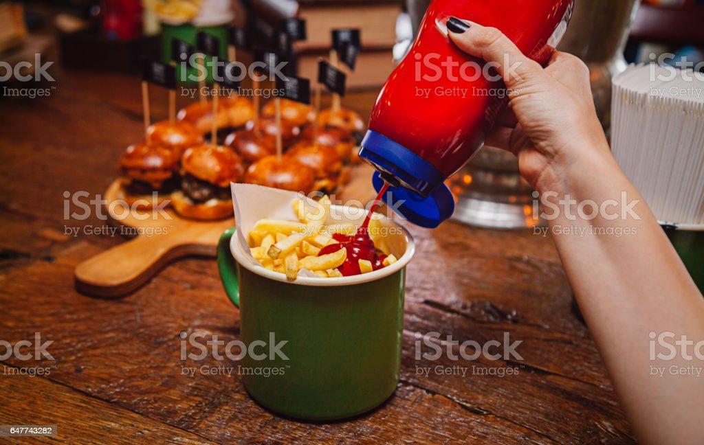 Fry And Ketchup stock photo