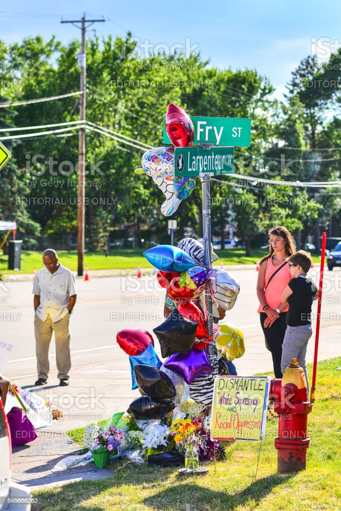 Fry and Larpenteur Site of Philando Castile Shooting in Minnesota stock photo