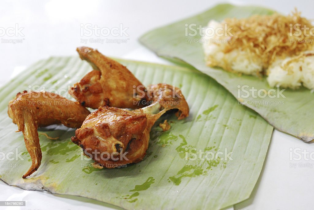 fry chicken and sticky rice royalty-free stock photo