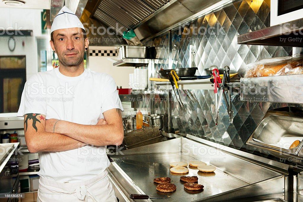 Fry cook stock photo