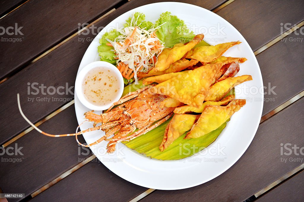 Fry lobster dumpling stock photo